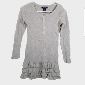 Ralph Lauren Dress Girls Med 8 10 Gray Ruffled